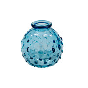 Vaso de vidro relevos azul 09 cm