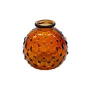 Vaso de vidro relevos ambar 09 cm
