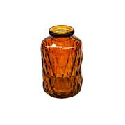 Vaso de vidro losangos ambar 10 cm