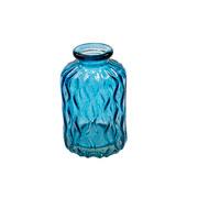 Vaso de vidro azul losangos 10 cm