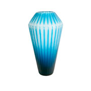 Vaso de vidro diamante azul 33 cm