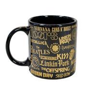 Caneca de cerâmica Bandas de Rock 320 ml