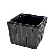 Cachepot de ceramica quadrado preto 08x06 cm