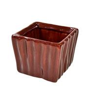 Cachepot de ceramica quadrado marrom 08x06 cm