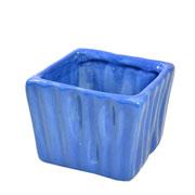 Cachepot de cerâmica quadrado azul 08x06 cm