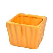 Cachepot de ceramica quadrado caramelo 08x06 cm