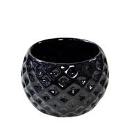 Cachepot de cerâmica Bola preto 09x07 cm