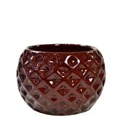 Cachepot de cerâmica Bola marrom 09x07 cm