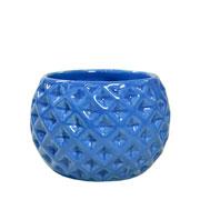 Cachepot de cerâmica Bola Azul 09x07 cm
