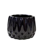 Cachepot de cerâmica Frisado preto 08x07 cm