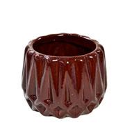 Cachepot de cerâmica Frisado marrom 08x07 cm