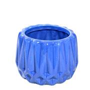 Cachepot de cerâmica Frisado azul 08x07 cm