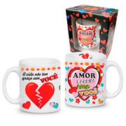Caneca de cerâmica romance amor sorria 325 ml