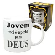 Caneca de cerâmica branca evangelho Jovem 300 ml