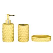 Jogo para banheiro em cerâmica dourado 03 peças