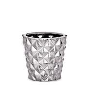 Cachepot em cerâmica prata 07 cm