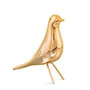 Enfeite pássaro de cerâmica dourado 20x16 cm