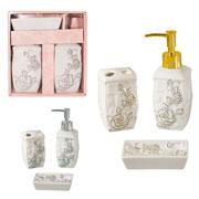 Jogo de banheiro em cerâmica flowers 03 pcs