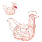 Cesta aramada galinha porta ovos rose gold 28 cm