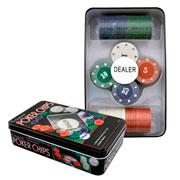 Jogo de fichas de poker na lata 100 peças