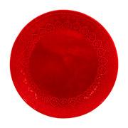 Prato raso corona relieve vermelho 26 cm