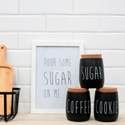 Porta mantimento de metal oak sugar preto 850 ml