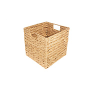 Caixa decorativa quadrada de palha com alça 25x26 cm