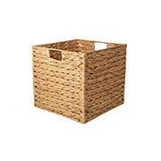 Caixa decorativa quadrada de palha com alça 30x30 cm
