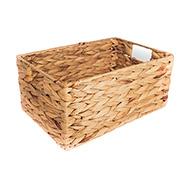 Caixa decorativa retangular de palha com alça 33x23x16 cm
