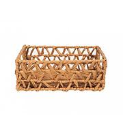 Cesto retangular de fibra natural com alça 28x18x12 cm
