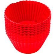 kit forma de silicone para muffins 12 peças