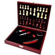 Kit para vinho jogo de Xadrez com maleta 06 peças