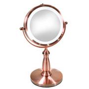 Espelho de mesa Bronze com LED ampliação 19 cm