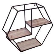 Prateleira de metal e madeira quadrada 43 cm