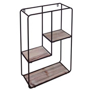 Prateleira de metal e madeira quadrada 59 cm