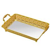 Bandeja espelhada dourada 34x23x09 cm
