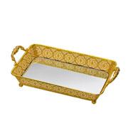 Bandeja espelhada dourada 30x19x08 cm