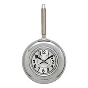 Relógio de parede frigideira prata 40 cm
