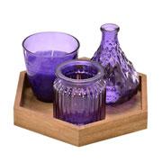 Kit vasos e 1 vela roxa com bandeja 04 peças