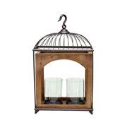 Lanterna em madeira e metal 38x20x63 cm