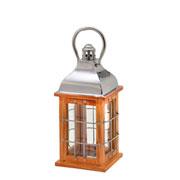 Lanterna decorativa em madeira e metal 34 cm