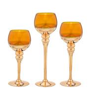 Jogo de candelabros de vidro dourado 03 pcs