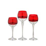Jogo de candelabros de vidro vermelho/prata 03 peças