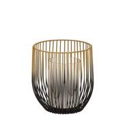 Candelabro decorativo preto e dourado 17 cm