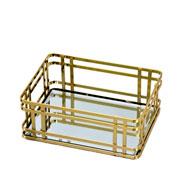 Bandeja espelhada de metal dourada 20x15 cm