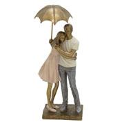 Enfeite de resina casal guarda chuva 31 cm