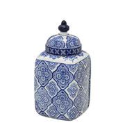 Potiche de porcelana branco e azul com tampa 29 cm