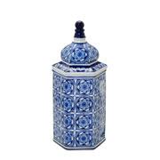 Potiche de porcelana com tampa azul 34 cm