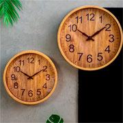 Relógio parede plástico wood bege 30 cm