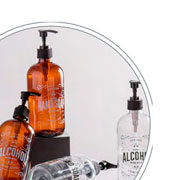 Porta alcool em gel de vidro ambar 490 ml